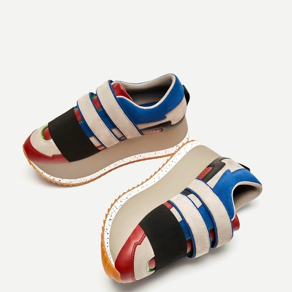 Zara Suede Color-block Velcro Platform Sneakers